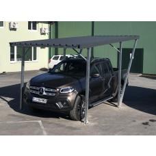 Single Carport 2.50x5.00m, corrugated steel sheet